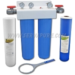 Serv-A-Pure 721502, 20'' Big Blue Chloramine and Sediment Removal Water Filter System