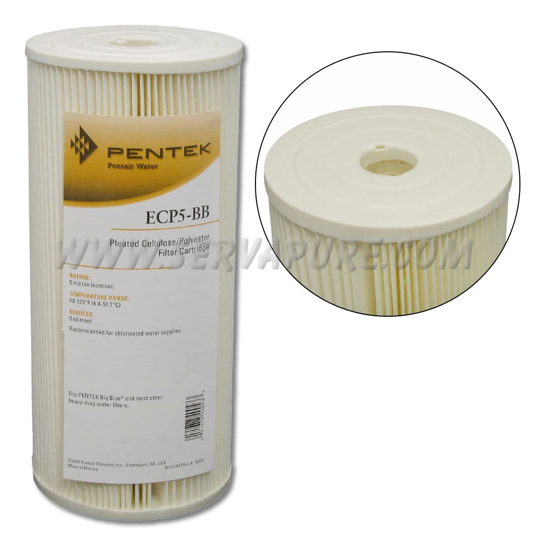 Pentek 255490, ECP5-BB Pleated Cellulose-Polyester, 4.5'' x 10'', 5 Micron