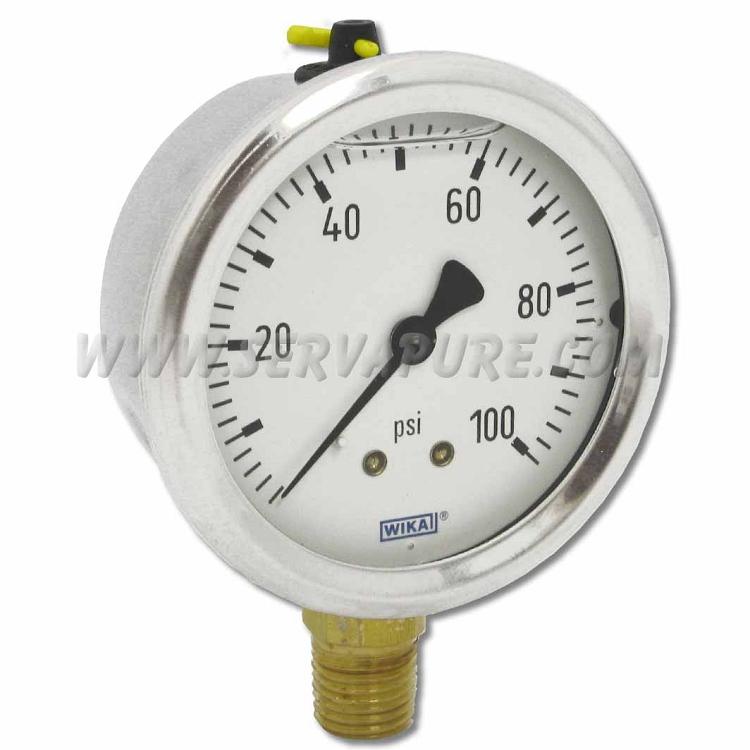 pressure gauge 5336 100 wika 0 100 psi 1 4 npt 2 5 serv a pure. Black Bedroom Furniture Sets. Home Design Ideas