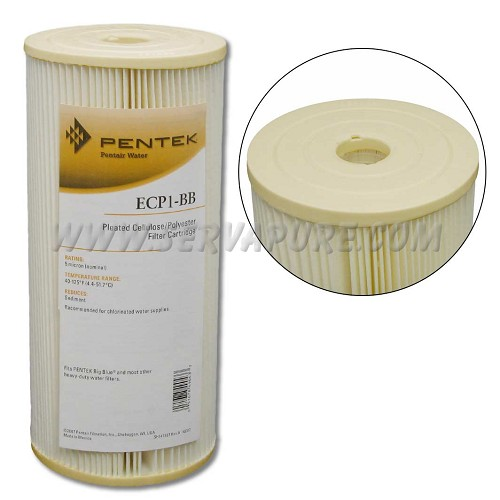 Pentek 255489, ECP1-BB Pleated Cellulose-Polyester, 4.5'' x 10'', 1 Micron