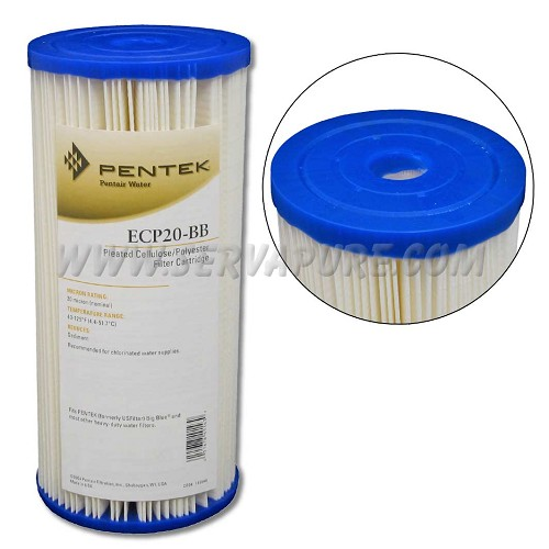 Pentek 255491, ECP20-BB Pleated Cellulose-Polyester, 4.5'' x 10'', 20 Micron